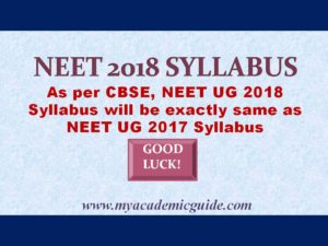 NEET Notification- NEET 2018 Syllabus